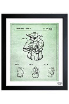 """Yoda"" Figure Toy 1982 Framed Art Print by Intriguing Design: Blueprints & Sketches on @HauteLook"