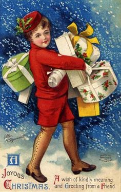*LET IT SNOW ~ Vintage Christmas Postcard