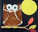 Owls made with a folded paper plate!