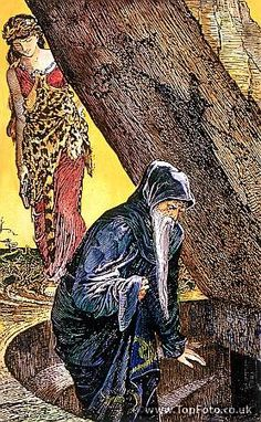 The Magician Merlin is lured to his death in the underground well by Vivien Illustration by H J Ford from Andrew Lang's the Book of Romance 1902 ed<br> - © TopFoto / Charles Walker King Arthur Legend, Legend Of King, Roi Arthur, Merlin And Arthur, Sword In The Stone, Medieval World, Chivalry, Faeries, The Magicians