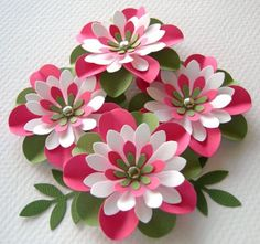 Paper Flowers Watermelon Round Creased With Brads (4)