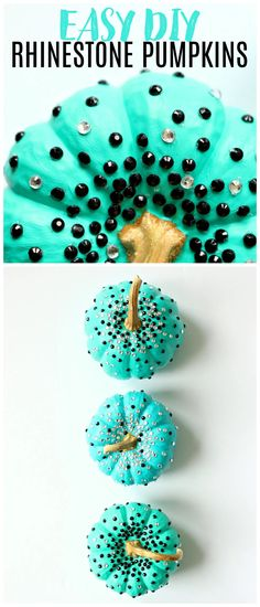 Looking for rhinestone pumpkin decorating ideas? Check out this cute DIY rhinestone pumpkin with dollar store supplies! Cute dollar store craft for Halloween. Rhinestone pumpkin bling! Cute pumpkin decorating ideas for kids - pumpkin decorating ideas no carve. Have a pumpkin decorating party and include this easy pumpkin decorating idea! I love turquoise pumpkins and blue pumpkins, but paint your pumpkin any color and add any color of rhinestone for a glam Halloween pumpkin design. Craft Tutorials, Diy Projects, Craft Ideas, Diy Halloween Costumes, Diy Halloween Decorations, Pumpkin Decorating, Decorating Blogs, Modern Halloween, Aqua
