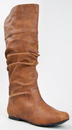 Qupid Women's Classic Slouchy Flat Boot