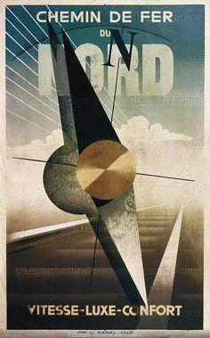 Poster for the Chemin de fer du Nord,1929. By Cassandre (Adolph Mouron) Bibliotheque Nationale, Paris, France