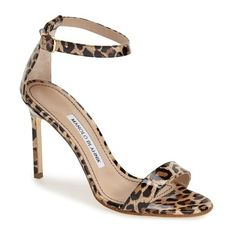 """Manolo Blahnik 'Chaos' Ankle Strap Pump, 4"""" heel (12,330 MXN) ❤ liked on Polyvore featuring shoes, pumps, heels, sandals, leopard, ankle strap pumps, high heel pumps, leopard pumps, print pumps and leopard print shoes"""