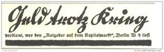 Original-Werbung/ Anzeige 1918 - GELD TROTZ KRIEG / RATGEBER KAPITALMARKT- ca. 90 x 30 mm