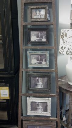 Need: picture frames, eye screws, old ladder, pictures Decor, Home Projects, Primitive Decorating, Vintage Ladder, Country Decor, Rustic Decor, Picture Frames, Home Decor, Repurposed Furniture