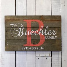 Wood Family Name Sign Established Sign by EverydayCreationsJen