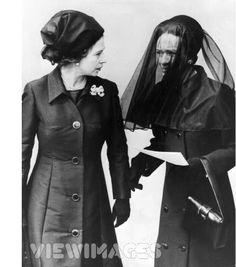 3rd June 1972 - 03 Jun 1972 Queen Elizabeth II, Wallis Simpson, Duchess of Windsor and Queen Elizabeth the Queen Mother after the funeral of Edward,The Duke of Windsor.