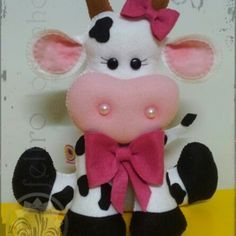 Sewing Stuffed Animals, Stuffed Animal Patterns, Animated Cow, Precious Moments Coloring Pages, Cow Craft, Felt Keychain, Felt Kids, Cow Decor, Animal Sewing Patterns