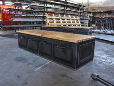 72 L x 24 D x 18 T  Custom sizes available  Reclaimed Boxcar Oak Top (mahogany, walnut, worn oak, cherry also available)  Four Full Size Drawers  Steel construction with heavy duty drawer slides