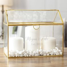 Gold frame glass terrarium personalized with bride and groom's name and wedding year decorated with white gravel and candles for wedding table centerpiece Wedding Reception Centerpieces, Wedding Table Centerpieces, Wedding Decorations, Glass Wedding Card Box, Wedding Tissues, Gold Bedroom Decor, Pallet Wedding, Wedding Activities, Glass Terrarium