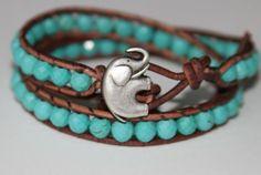 """Leather Wrap Genuine Turquoise Beaded Bracelet 2x Wrap """"My Lucky Charm"""" Elephant Jewelry Cuff Bracelet. $58.00, via Etsy."""