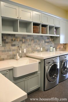 Laundry room---use some of the old kitchen cabinets over the laundry appliances