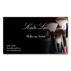 Black Make-up brush cosmetology business cards. Make your own business card with this great design. All you need is to add your info to this template. Click the image to try it out!