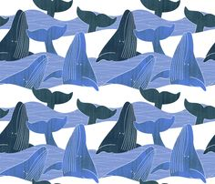 Colorful fabrics digitally printed by Spoonflower - Whale Art, Sharks, Surface Design, Custom Fabric, Spoonflower, Art Reference, Underwater, Dresser, Craft Projects