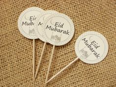 10 Eid Mubarak Cupcake Toppers No1079 by BelowBlink on Etsy