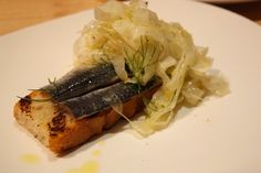Pickled sardines with fennel and preserved lemon.