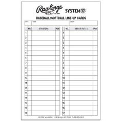 Line Up Card Baseball Lineup Cards Season Success