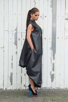 Unique Maxi Black Dress with pockets  Perfect choice for everyday wear or special events! This Oversize Dress looks great with heels or sneakers. It