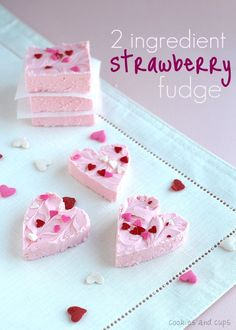 2 Ingredient Strawberry Fudge is sweet, creamy and SUPER simple to make. This easy homemade fudge recipe is the best, and cutest, Valentine's Day dessert! Fudge Recipes, Candy Recipes, Sweet Recipes, Dessert Recipes, Drink Recipes, Yummy Recipes, Valentine Love, Valentines Day, Valentine Treats