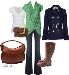 """""""Navy, green, and brown"""" by styleofe ❤ liked on Polyvore"""