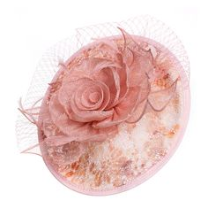 Large base with multicolor lace top. Sinamay rose. Netting and feather detail. Headband. One size.