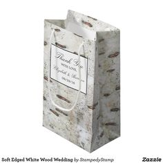 Soft Edged White Wood Wedding Small Gift Bag
