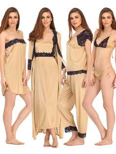Clovia 7 Pcs Satin Nightwear Set - Clovia Online Shopping Sites e34da64d3
