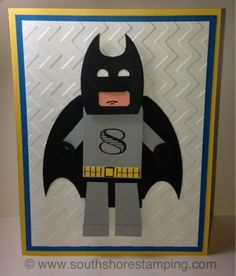 Lego Batman Minifig Punch Art Birthday card using Stampin' Up! products by Emily Mark SU demo Montreal. www.southshorestamping.com