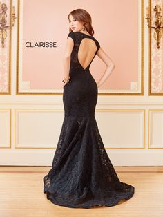 4852 - Black lace mermaid dress with short sleeves and an open back Plus Size Homecoming Dresses, Tight Prom Dresses, Stunning Prom Dresses, Formal Dresses With Sleeves, Black Prom Dresses, Mermaid Prom Dresses, Pageant Dresses, Short Dresses, Mermaid Evening Gown