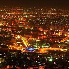 Lights of Mount Qasioun over Damascus