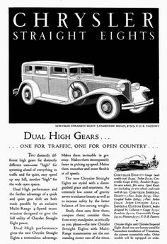 1931 Chrysler 5-Passenger Sedan vintage ad. Dual high gears, one for traffic and one for open country. Original MSRP started at $1,525.