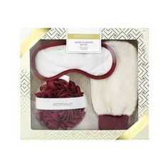 Your name will be at the top of everyone's Nice List when you give them the EcoTools Gilded Glamour Spa Set. The rich burgundy and cream bath items feel perfectly seasonal, but will always be a welcomed addition to the bath or shower of whomever you gift them to. Bath time will be more luxurious than ever when they have a lush pouf for their shower gel, a loofah mitt for exfoliating and a soft cotton mask to help them relax as they soak in the tub. With a bath accessory set this nice, you...