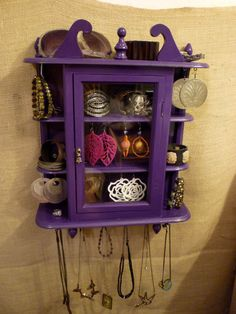 Upcycled Jewelry Organizing Display (Purple with Glass Cabinet). $90.00, via Etsy.
