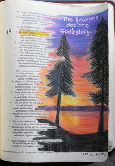 Psalm 19:1 - The heavens declare the glory of God  Prismacolor Premier colored pencils; lettering with 1mm white Uni Ball Signo Gel Pen