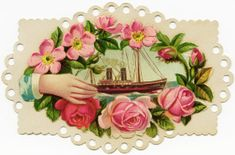 victorian calling card, free vintage ephemera, floral card download, flower hand ship graphic, old fashioned card image