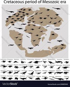Dinosaurs of cretaceous period on map vector image on VectorStock Extinct Animals, Prehistoric Animals, Map Vector, Vector Free, Dinosaur History, Einstein, Dinosaur Pictures, Prehistory, Health Education