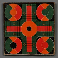 Polychrome-painted  Parcheesi Game Board, America, late 19th century, square panel with applied molding, the playing filed painted in bold colors of green, red, orange, and black, 16 3/4 x 17