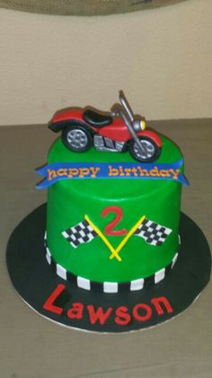 Motorcyclethemed birthday cake for a childs party PhDserts