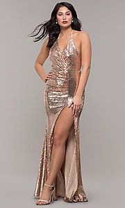 Shop long rose gold sequin prom dresses at PromGirl. Halter prom dresses, v-neck formal dresses in rose gold, and long gold sequin dresses with open backs, ruching, and side slits. Sequin Formal Dress, Fitted Prom Dresses, Sequin Prom Dresses, Plus Size Prom Dresses, Metallic Dress, Cheap Prom Dresses, Satin Dresses, Homecoming Dresses, Sparkly Dresses
