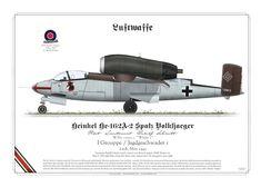 """He-162A-2 """"Spatz/Volksjaeger"""" I Grouppe / Jagdgeschwader 1 Leck, May 1945 Pilot Lieutenant Rudolf Schmitt"""