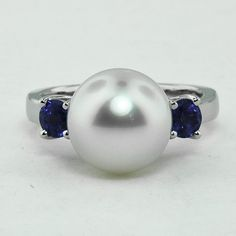 Custom Designed South Sea Pearl and Sri Lankan Sapphire Trellis Ring Steel Jewelry, Pearl Jewelry, Pearl Rings, Jewelry Box, Jewelery, Wedding Anniversary Rings, Wedding Ring, Custom Jewelry Design, Custom Design