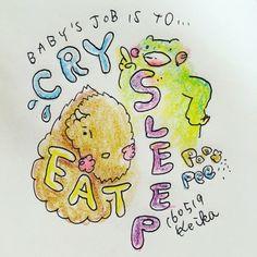 【Around midnight】Studying one by one! #日々勉強 #bison #frog #animal #drawing #illustration #baby #mom #cry #sleep #eat #かえる #動物 #バイソン #赤ちゃん #イラスト #おえかき #新米ママ #泣く #寝る #食べる