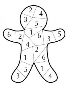 Ali. Get in groups. Roll dice. Color in ginger bread when u roll that number. Winner gets prize. Do in groups of 4