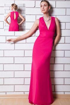 V-Neck Romantic Pink Bridesmaids Dress - Order Link: http://www.theweddingdresses.com/v-neck-romantic-pink-bridesmaids-dress-twdn2705.html - Embellishments: Ruched; Length: Floor Length; Fabric: Chiffon; Waist: Natural - Price: 91.88USD