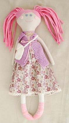 Rag Doll Textile Doll Stuffed Pink Doll with Bag Perfect