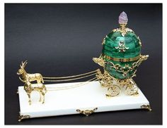 The Cherub with Chariot Egg or Angel with Egg in Chariot is a Tsar Imperial Fabergé egg, one of a series of fifty-two jeweled eggs made under the supervision of Peter Carl Fabergé for the Russian Imperial family. It was crafted and delivered in 1888 to the then Tsar of Russia, Alexander III. This is one of the lost Imperial eggs, so few details are known about it.