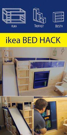 Decor hacks: Ikea Kids Bed Hack with secret room, bed decor secret hack HACKS IKEA .Decor hacks: Ikea Kids Bed Hack with secret room, Decor hacks: Ikea Kids Bed Hack with secret room -Read Kura Bed, Cama Ikea Kura, Ikea Kura Hack, Ikea Bunk Bed Hack, Ikea Hack Lit, Ikea Kids Bed, Secret Rooms, Kid Beds, Girl Room