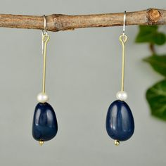 Navy earrings, tagua long earrings, eco-chic blue drops, pearl jewelry, unique natural drops, organic earrings, women gift under 20 by ColorLatinoJewelry on Etsy
